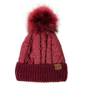 'C.C®' Quilted Puffer Beanie - Burgundy