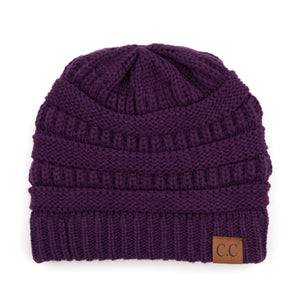 'C.C®' Solid Knit Beanie - Dark Purple