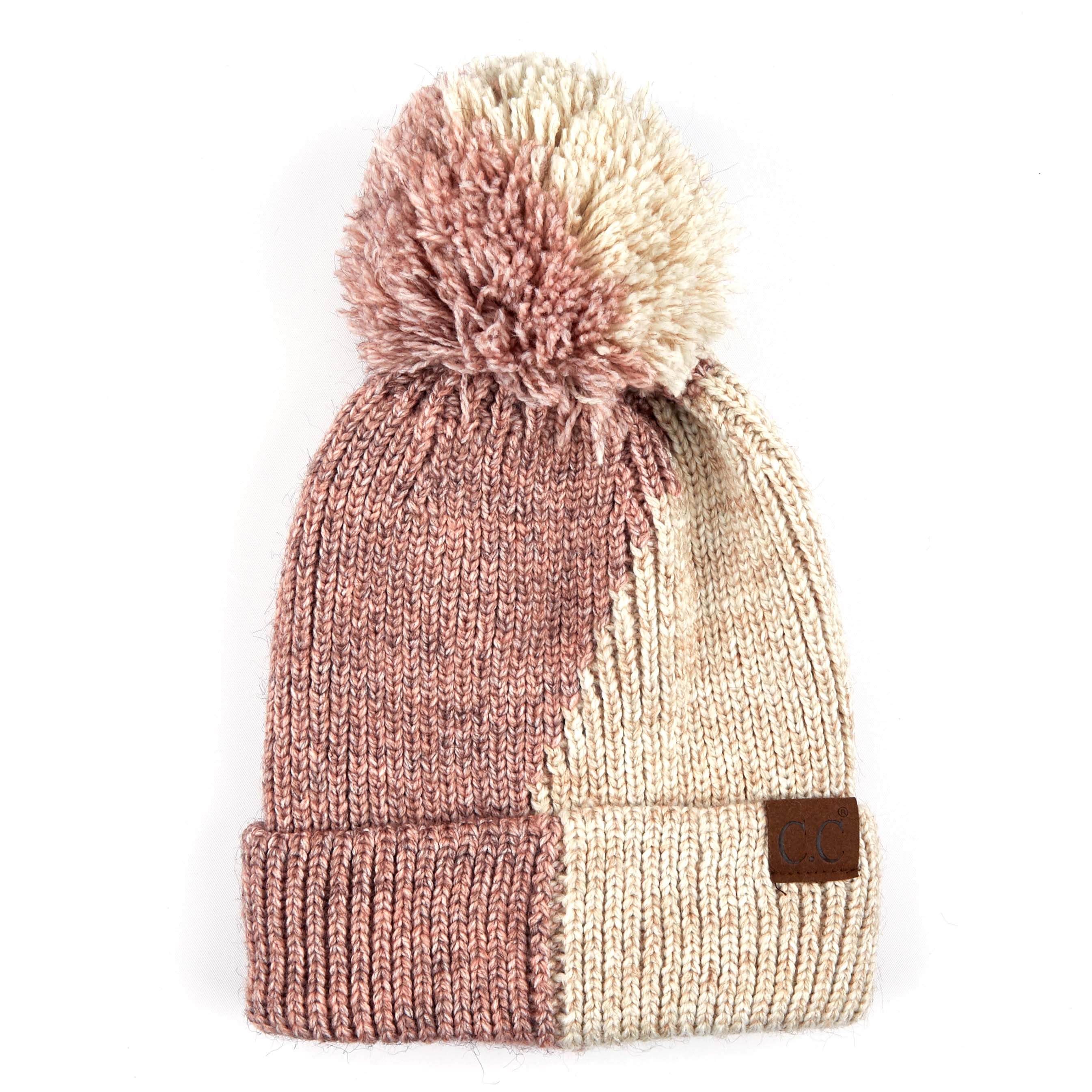 'C.C®' Dual Color Beanie - Rose / Beige