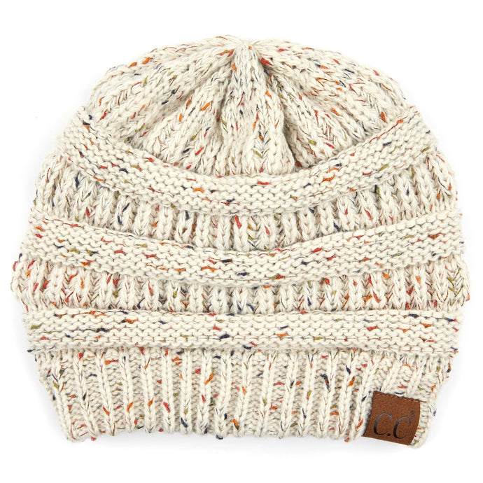 'C.C®' Cable Knit Confetti Beanie - Oatmeal