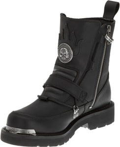 "'Harley Davidson' Men's 6"" Distortion Skull Zip Boot - Black"