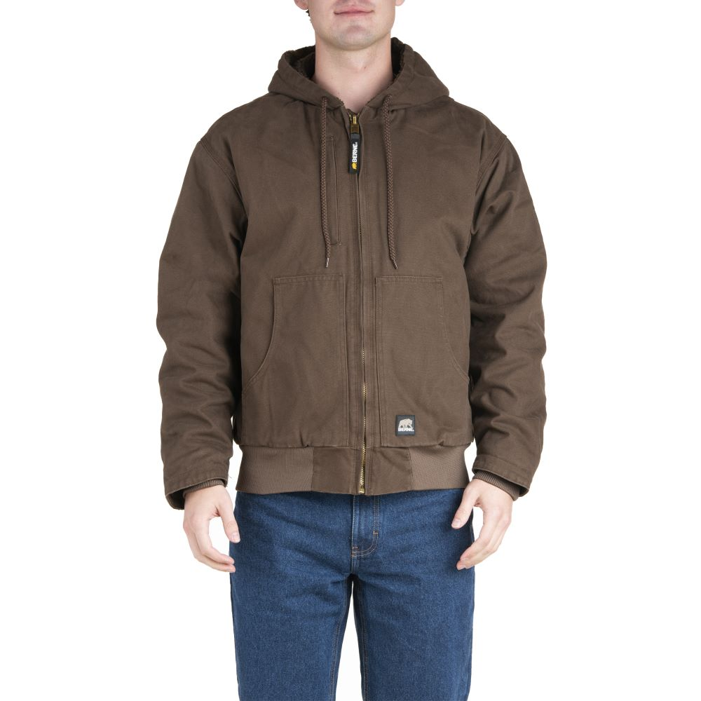 'Berne' Men's Flex180 Washed Hooded Jacket - Bark