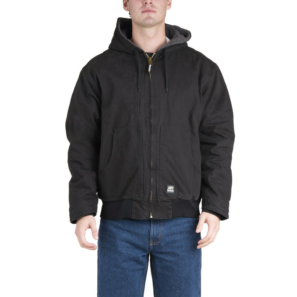 'Berne' Men's Flex180 Washed Hooded Jacket - Black