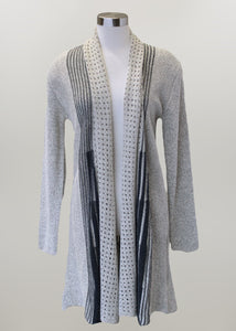 'Keren Hart' Long Sleeve Knit Duster - Heather Grey / Tan / Black (ext. sizes)