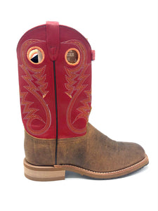 'Abilene' Men's Western Square Toe - Brown / Red