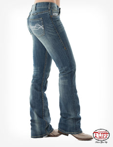 'Cowgirl Tuff' Women's 'Don't Fence Me In' Bootcut - Medium Wash