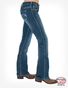 'Cowgirl Tuff' Women's Edgy Bootcut - Medium Wash