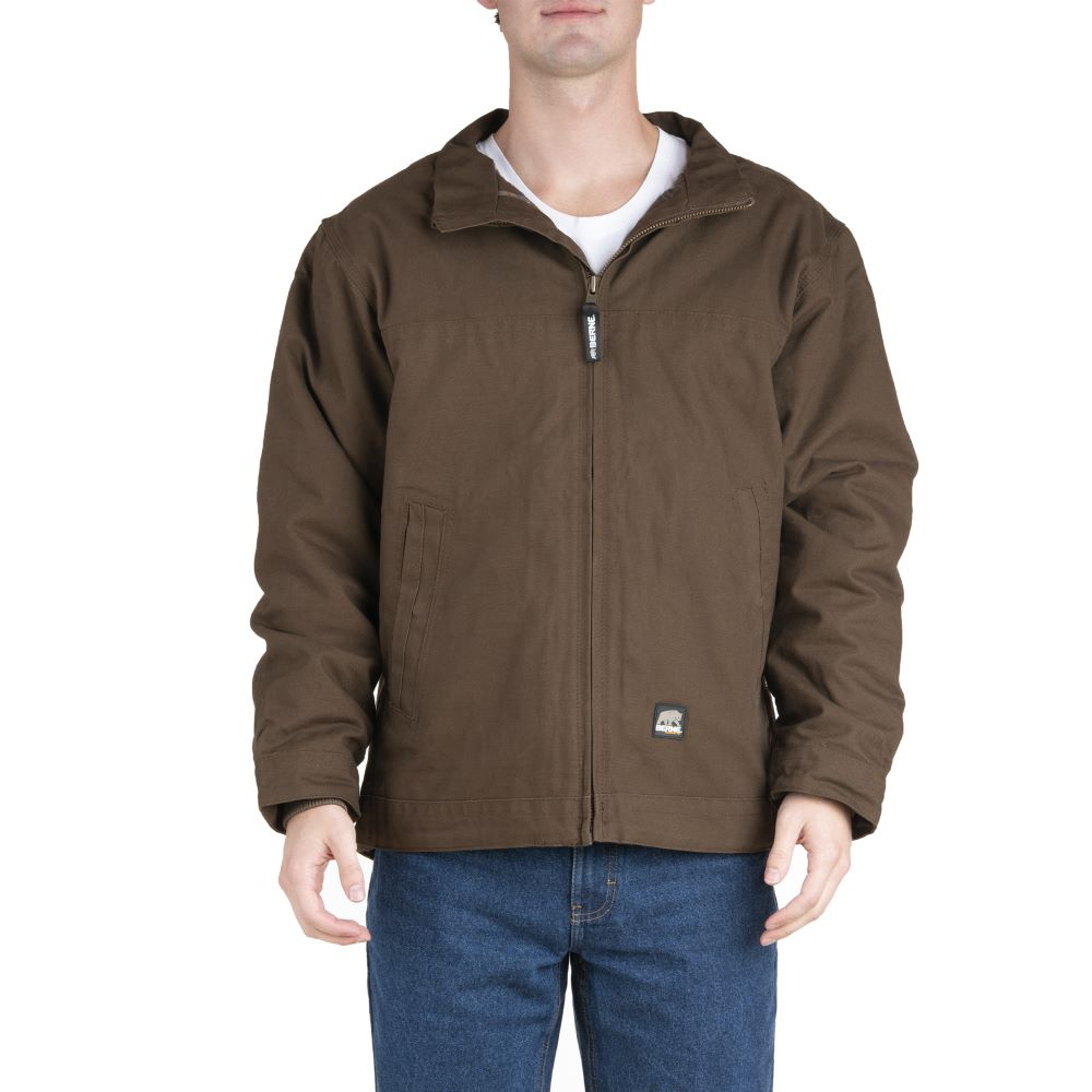 'Berne' Men's Flagstone Flannel Lined Duck Jacket - Bark