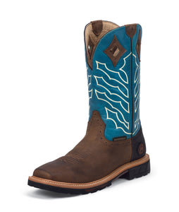 WK4973 - Justin Derrickman Waterproof Square Toe Boot - Peanut / Turquoise / White