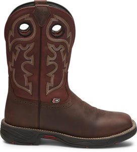 "'Justin' Men's 11"" Stampede Rush EH WP Square Toe Wellington - Fiesta / Grizzly Brown"