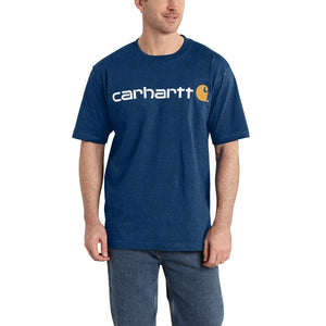'Carhartt' Men's Heavyweight Logo T-Shirt - Cobalt Blue Heather