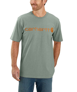 'Carhartt' Men's Heavyweight Logo T-Shirt - Leaf Green Heather