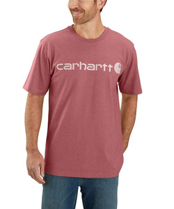 'Carhartt' Men's Heavyweight Logo T-Shirt - Blush Pink Heather