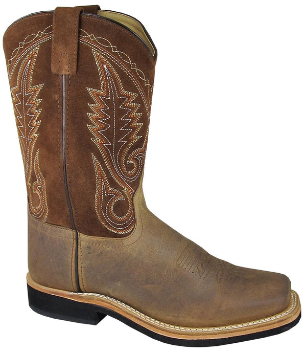 'Smoky Mountain' Youth Boonville Western Square Toe - Brown Distress
