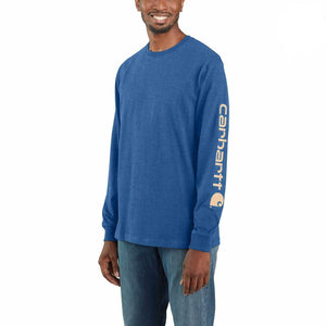 'Carhartt' Men's Heavyweight Sleeve Logo T-Shirt - Cobalt Heather