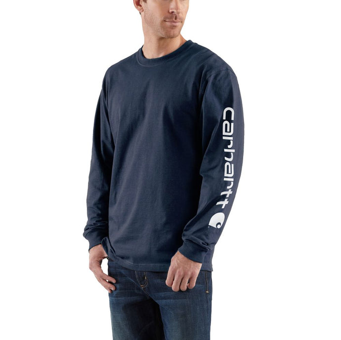 'Carhartt' Men's Heavyweight Sleeve Logo T-Shirt - Navy