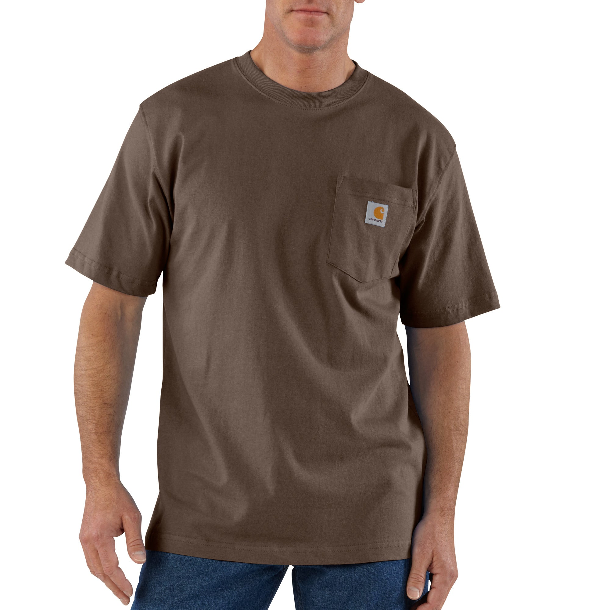 'Carhartt' Men's Workwear Heavyweight Pocket T-Shirt - Dark Brown