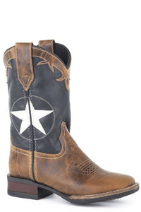 "'Roper' Youth 9"" Monterey Star Western Square Toe - Tan / Navy"