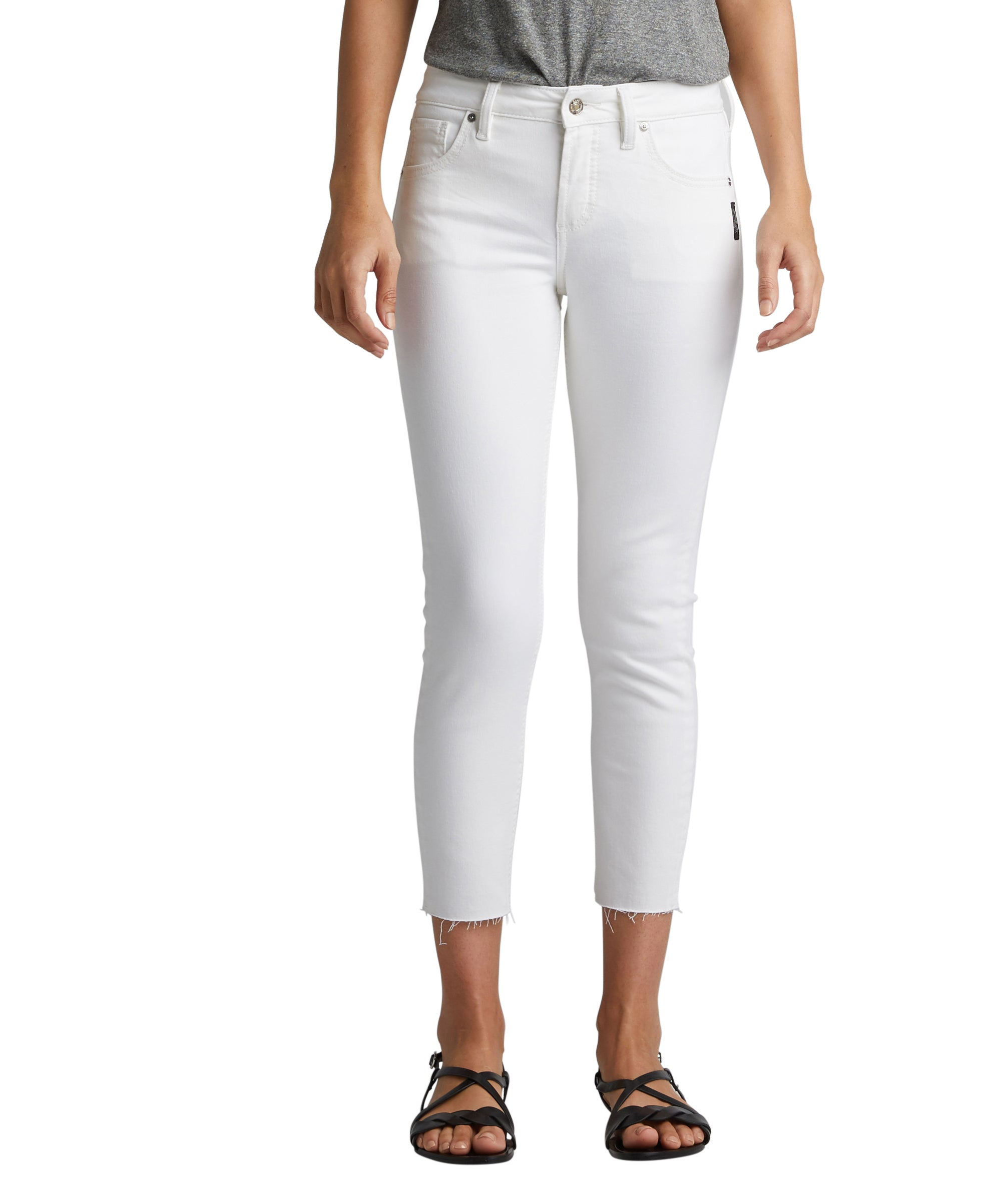 'Silver Jeans' Avery Skinny Crop - White