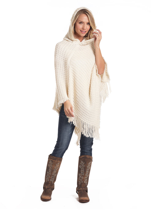 'Panhandle Slim' L8-3681 - Women's Chenille Hooded Poncho - Cream