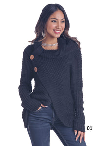 'Panhandle Slim' Women's Waffle Cowl Neck Sweater - Black