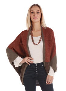 'Panhandle Slim' L9-2941 91 - Cocoon Style Sweater - Rust / Beige