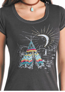 'Panhandle Slim' Teepee Scene T-shirt - Charcoal Grey