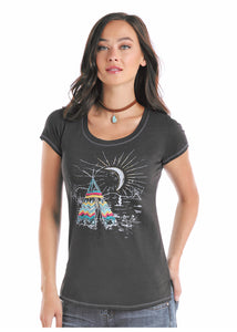 'Panhandle Slim' L9T1715 - Teepee Scene T-shirt - Charcoal Grey
