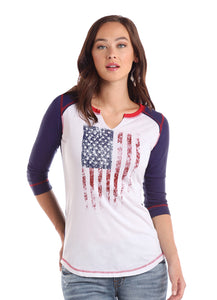 'Panhandle Slim' L9T1735 - 3/4 Sleeve Flag Raglan Tee - White