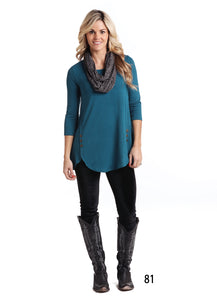 'Panhandle Slim' L9T878 01 - Women's 3/4 Sleeve Tunic - Black