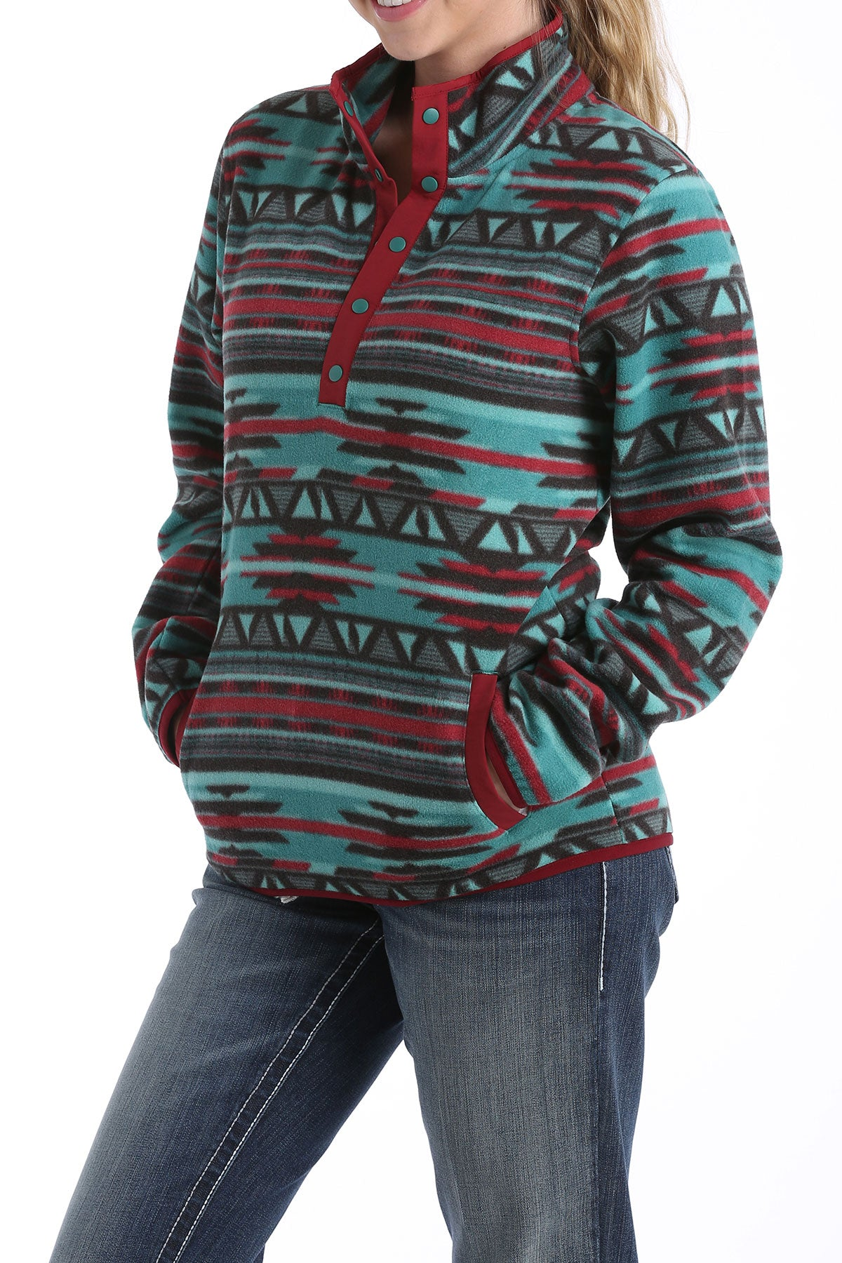 'Cinch' MAK9820001 - Women's Printed Polar Fleece Pullover - Teal / Burgundy