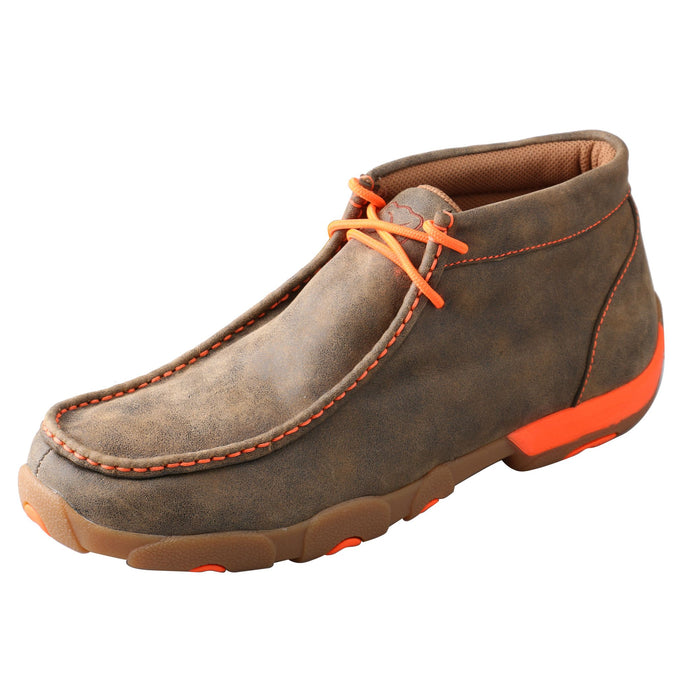'Twisted X' Men's Driving Moccasin - Tan / Bomber / Neon Orange