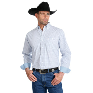 'George Strait' Men's Button Down Relaxed Plaid - Blue / White