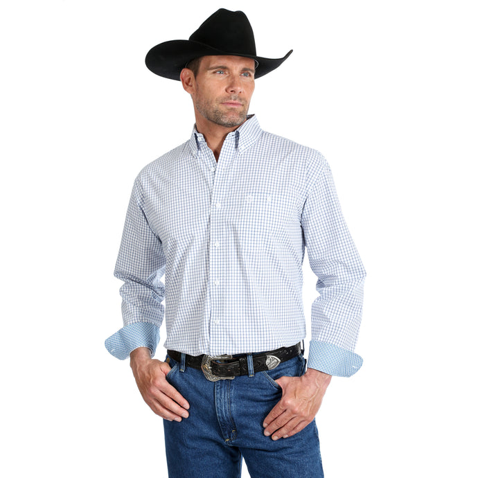 'George Strait' MGSB657 - LS Button Down Relaxed Plaid - Blue / White
