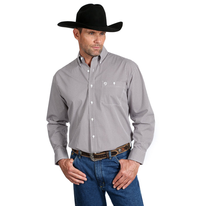 'Wrangler' MGSR674 - George Strait LS Button Down Shirt - White / Burgundy