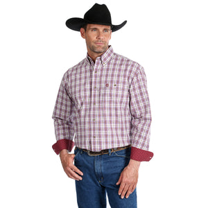 'George Strait' MGSR682 - LS Button Down Plaid - Burgundy / Blue