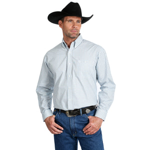 'Wrangler' MGSX688 - George Strait LS Button Down Shirt - White / Blue