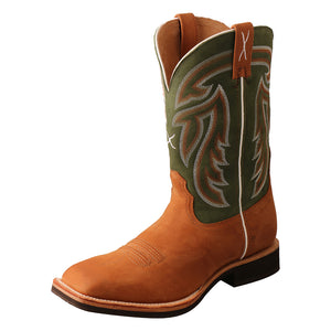"'Twisted X' Men's 12"" Horseman Western Square Toe - Tan / Dk Green"