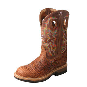"'Twisted X' Men's 12"" Lite Cowboy Comp Toe - Tan Elephant Print"