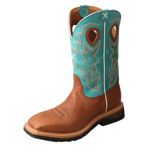 "'Twisted X' Men's 12"" Lite Cowboy EH Steel Toe - Cognac / Turquoise"