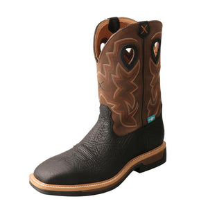 "'Twisted X' Men's 12"" Lite Western Work EH WP Steel Toe - Black / Brown"