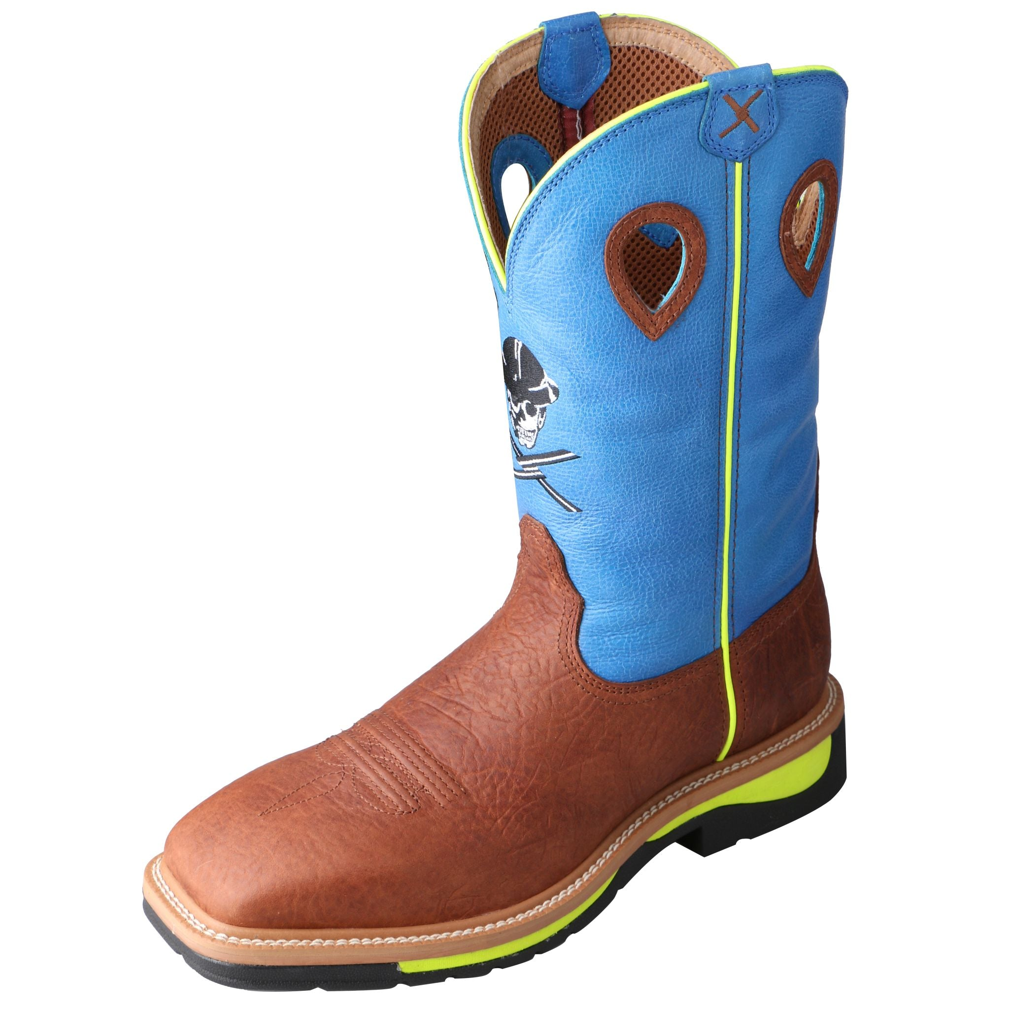 Lite Cowboy Skull Work Boot - Neon Blue / Neon Yellow / Brown Oiled Shoulder