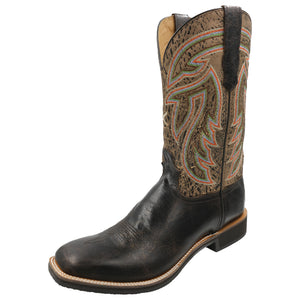 'Twisted X' Men's Silver Buckle Rancher - Chocolate Shrunken Grain / Brown Tan