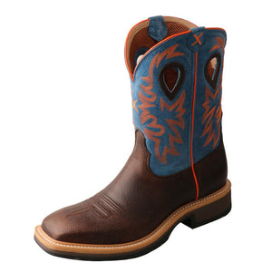 "'Twisted X' Men's 11"" Western Work EH Steel Toe - Brown / Blue"