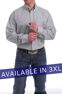 'Cinch' Men's Western Geo Print Button Front - Blue / Tan