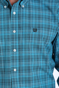 'Cinch' Men's Western Plaid Button Front - Teal