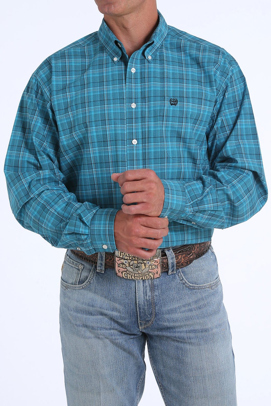 'Cinch' MTW1104834 - LS Button Down Plaid Shirt - Teal