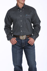 'Cinch' Men's Diamond Print Button Front - Black