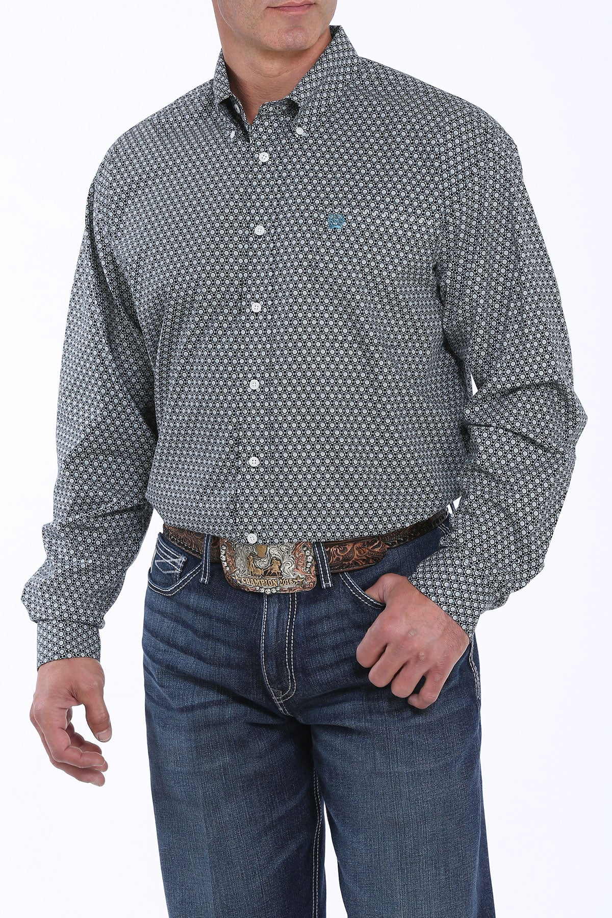 'Cinch' MTW1104875 - LS Geo Print Button Down - Black / Teal