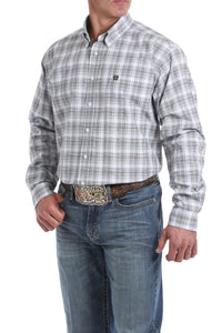 'Cinch' Men's Western Plaid Button Front - White / Brown